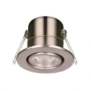 Luceco F-Eco 5W Cool White Dimmable LED Fire Rated Adjustable Downlight - Brushed Steel