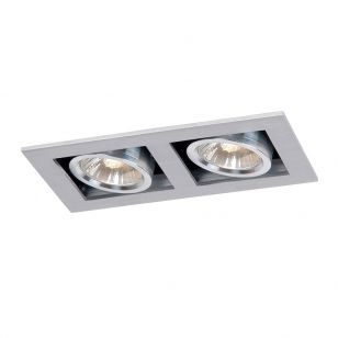 Lucide Chimney Square Adjustable Twin Downlight - Satin Chrome