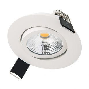 Integral Ultra Slim 6.5W Warm White Dimmable LED Tiltable Downlight - White