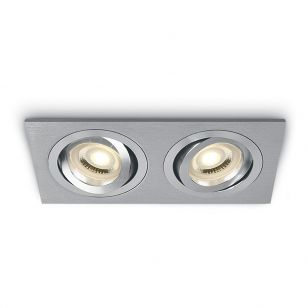 Bay Rectangle Adjustable Twin Downlight - Aluminium