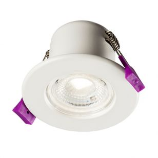 Eco 5W Cool White Dimmable LED Fire Rated Fixed Downlight - White