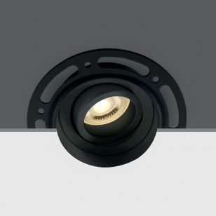 Trimless Plaster-In Tiltable Downlight - Black