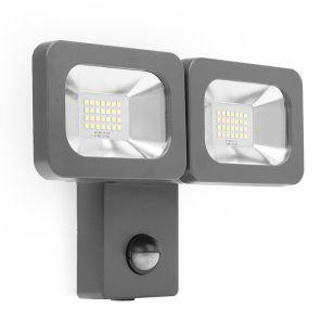 Alert 11W Cool White LED Twin Floodlight - Black