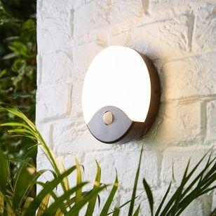 Taurus 15W Colour Selectable LED Round Outdoor Coastal Flush Light with PIR Sensor - Black