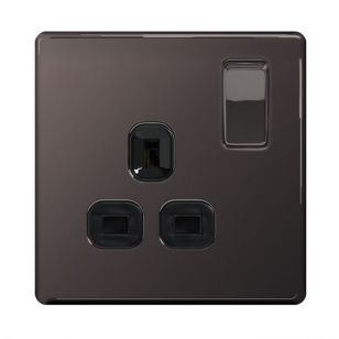 Black Nickel Screwless 13A 1 Gang Switched Socket