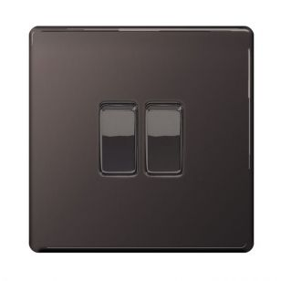 Black Nickel Screwless 10A 2 Gang 2 Way Light Switch