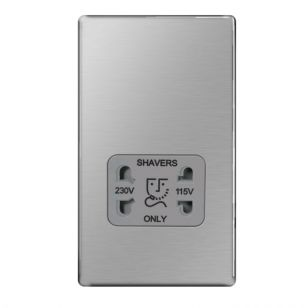 Brushed Steel Screwless Dual Voltage Shaver Socket