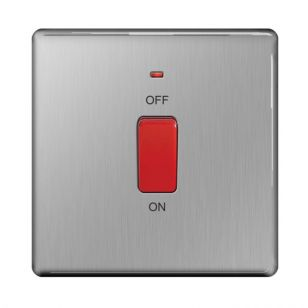 Brushed Steel Screwless 45A Cooker Switch with Neon