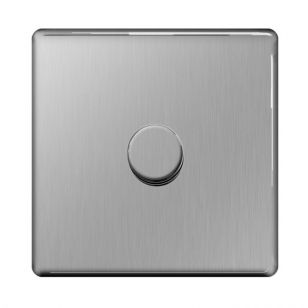 Brushed Steel Screwless 1 Gang 2 Way 400W Dimmer