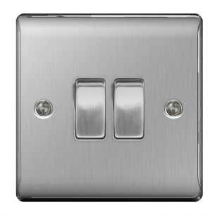 Brushed Steel Low Profile 10A 2 Gang 2 Way Light Switch