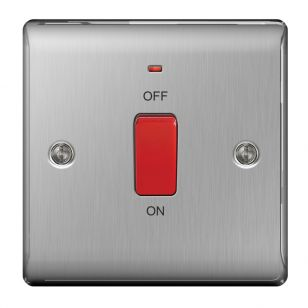 Brushed Steel Low Profile 45A Cooker Switch with Neon