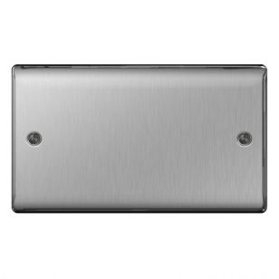 Brushed Steel Low Profile 2 Gang Blanking Plate