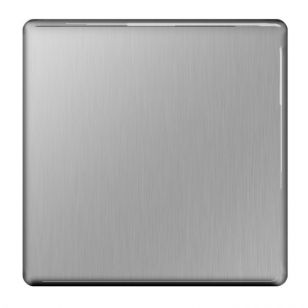 Brushed Steel Flat Plate 1 Gang Blanking Plate