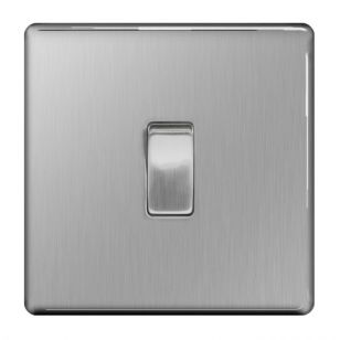 Brushed Steel Screwless 10A 1 Gang Intermediate Light Switch