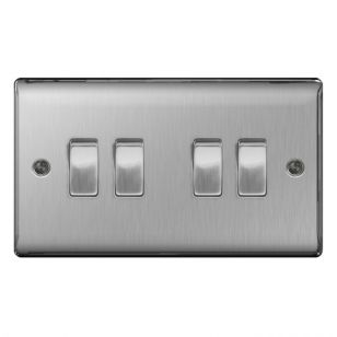 Brushed Steel Low Profile 10A 2 Way 4 Gang Light Switch