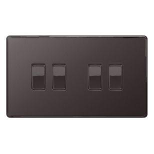 Black Nickel Flat Plate 10A 2 Way 4 Gang Light Switch