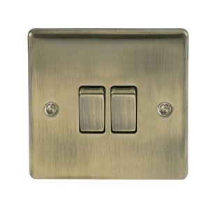 Antique Brass Low Profile 10A 2 Way 2 Gang Light Switch