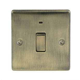 Antique Brass Low Profile 20A DP Switch with Neon