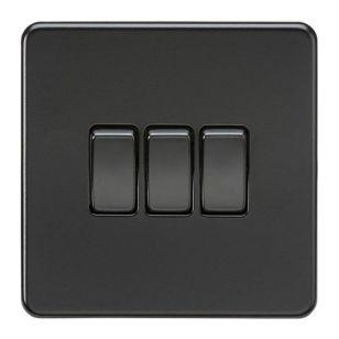Matt Black Screwless 10A 3 Gang 2 Way Light Switch