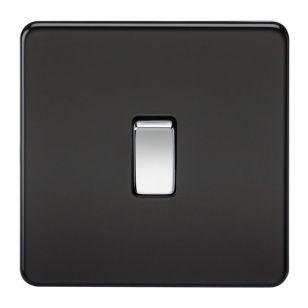 Matt Black Screwless 10A 1 Gang 2 Way Light Switch with Chrome Rocker