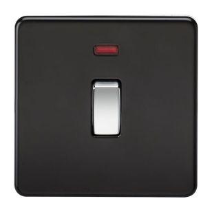 Matt Black Screwless 20A 1 Gang DP Switch with Neon with Chrome Rocker