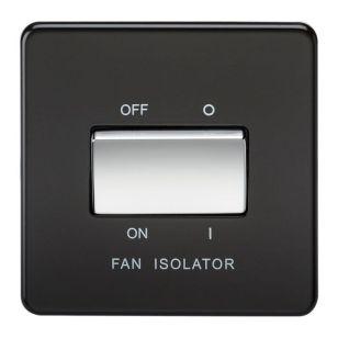Matt Black Screwless 10A 3-Pole Fan Isolator Switch with Chrome Rocker
