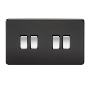 Matt Black Screwless 10A 4 Gang 2 Way Light Switch with Chrome Rocker