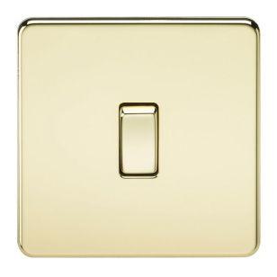 Polished Brass Screwless 10A 1 Gang 2 Way Light Switch