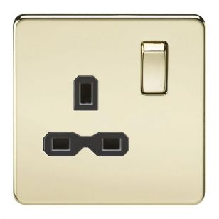 Polished Brass Screwless 13A 1 Gang Switched Socket
