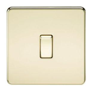 Polished Brass Screwless 10A 1 Gang Intermediate Light Switch