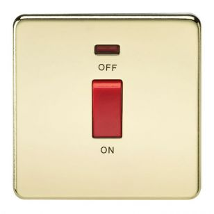 Polished Brass Screwless 45A 1 Gang Switch with Neon