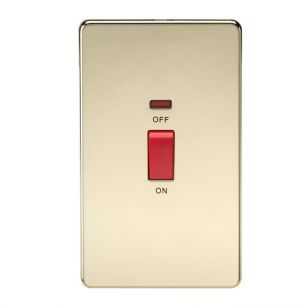 Polished Brass Screwless 45A 1 Gang Oblong Switch with Neon