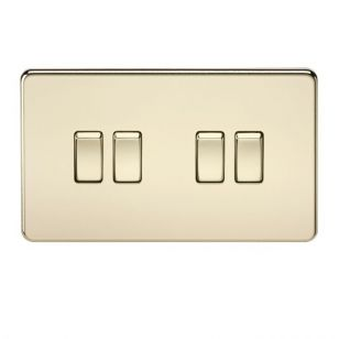 Polished Brass Screwless 10A 4 Gang 2 Way Light Switch