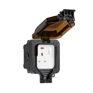 13A 1 Gang Double Pole Switch Outdoor Power Socket - Black