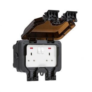 13A 2 Gang Double Pole Swith Outdoor Power Socket - Black
