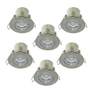 Luceco F-Eco 5W Cool White Dimmable LED Fire Rated Fixed Downlight - Brushed Steel - Pack of 6