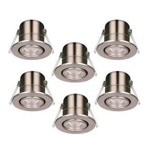 Luceco F-Eco 5W Warm White Dimmable LED Fire Rated Adjustable Downlight - Brushed Steel - Pack of 6
