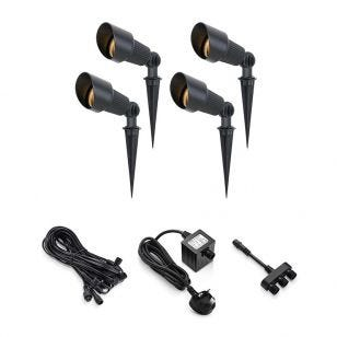 EasyFit 12v Garden Lights - Kew LED Garden Spotlight Kit - 4 Lights
