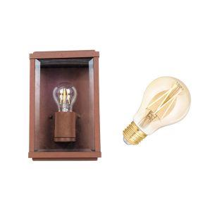 Edit Battersea 6.5W Warm White LED Smart WiFi Half Lantern Outdoor Wall Light - Rust Brown