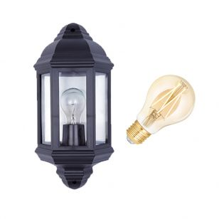 Edit Coastal Newquay 6.5W Warm White LED Smart WiFi Half Lantern Outdoor Wall Light - Black