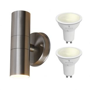 Edit Dune 5.5W Warm White LED Smart WiFi Outdoor Up & Down Wall Light - Stainless Steel