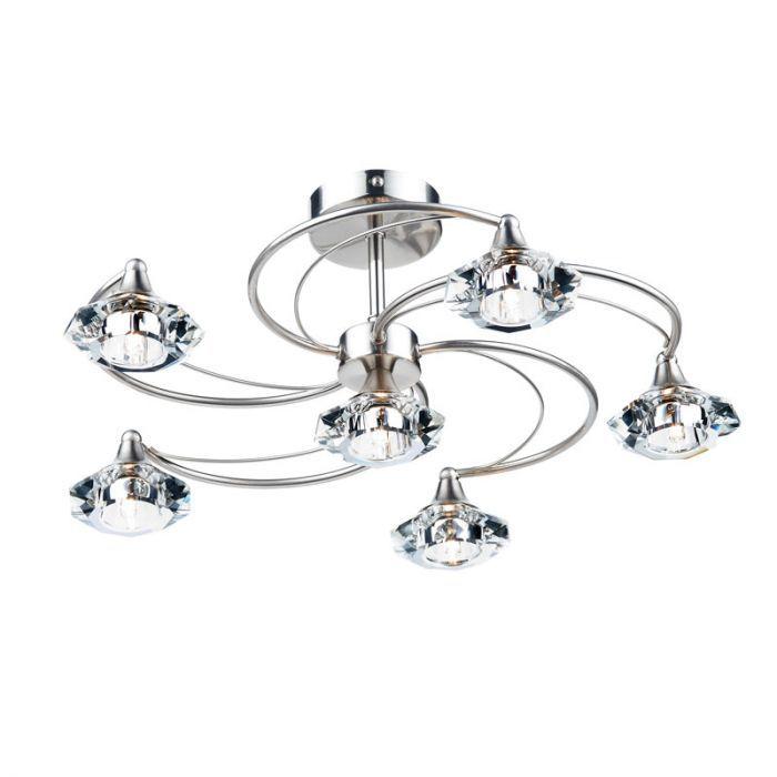 CO Z 3 Light Semi Flush Mount Ceiling Light Brushed Nickel, Modern Bathroom Chrome Ceiling Light Fixture with Frosted Glass, Modern Chandelier Pendant