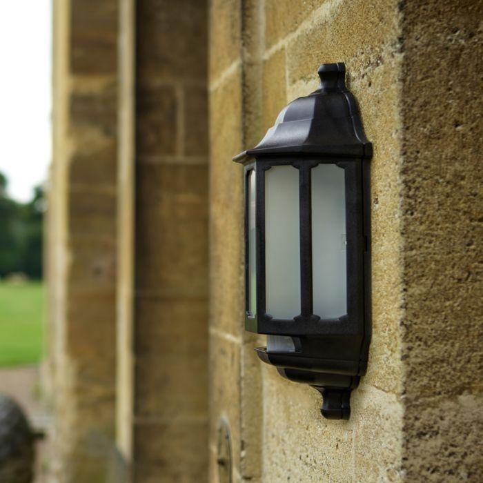 Asd Hi Lo Coach Led Half Lantern Outdoor Wall Light With Dusk To Dawn And Pir Sensor Black Lighting Direct