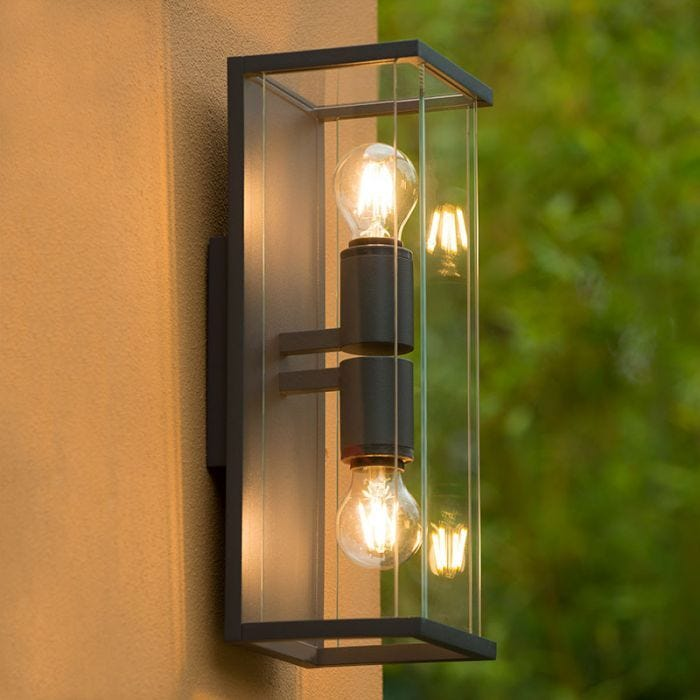 Lucide Claire Half Lantern Outdoor Twin Wall Light Anthracite Lighting Direct