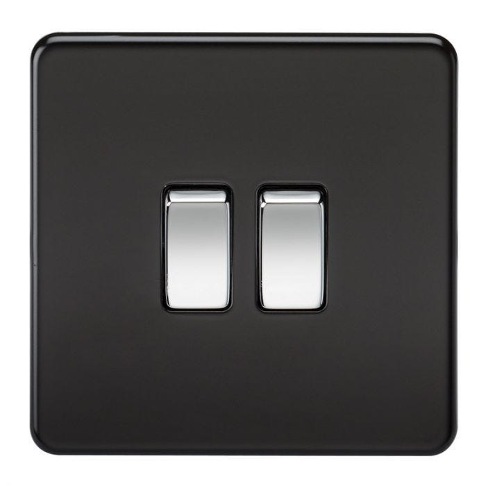 2 Way 2 Gang Chrome Screwless Double Light Switch