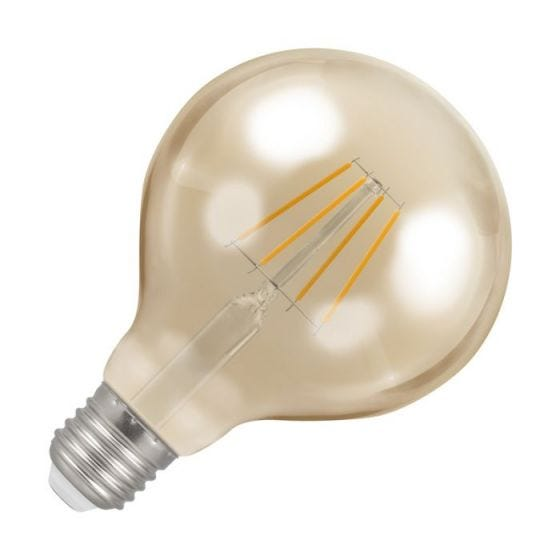Crompton 5W Very Warm White Dimmable LED Decorative Filament 95mm Globe Bulb - Screw Cap