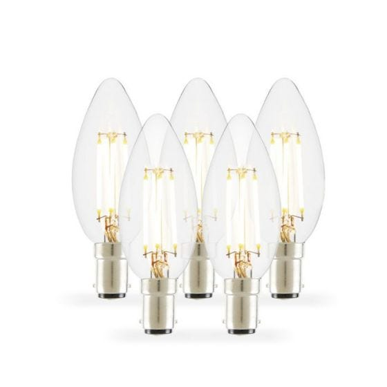 Tagra 4W Warm White Dimmable LED Decorative Filament Candle Bulb - Small Bayonet Cap - Pack of 5