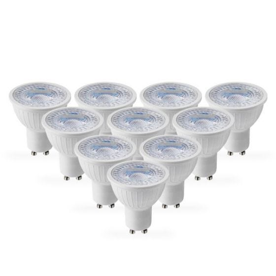 Lyco 5W Cool White Dimmable LED GU10 Bulb - Pack of 10 - Flood Beam