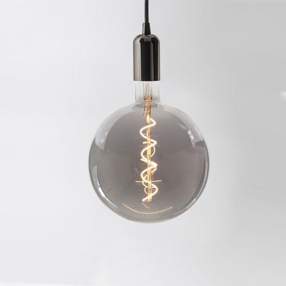 Tagra LED Large Smoked Globe Ceiling Pendant Light - Gun Metal