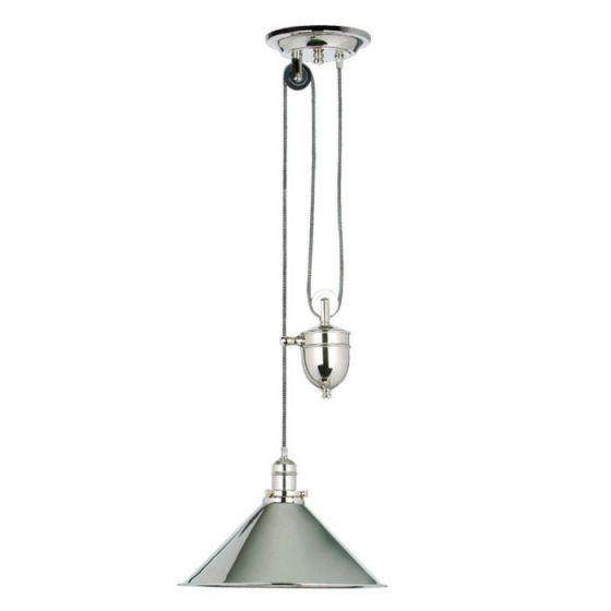 Elstead Provence Rise and Fall Ceiling Pendant Light - Polished Nickel